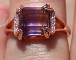 Ametrine 3.39ct Rose Gold Finish Solid 925 Sterling Silver Ring