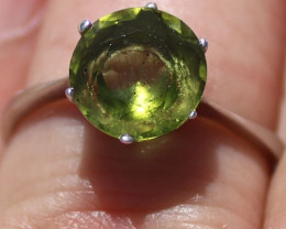 Peridot 2.63ct Solid 925 Sterling Silver Rhodium Finish Solitaire Ring