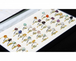x30 set Rough Raw Colorful Gemstone Silver Plated Rings BR 864
