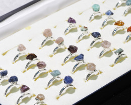 x30 set Rough Raw Colorful Gemstone Silver Plated Rings BR 865