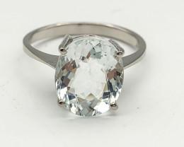11.89 Crt Natural Aquamarine 925 Silver Ring