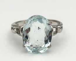 11.77 Crt Natural Aquamarine 925 Silver Ring