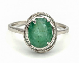 6.55 Crt Natural Emerald 925 Silver Ring