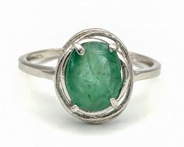 6.55 Crt Natural Emerald 925 Silver Ring