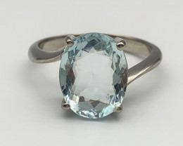 15.17 Crt Natural Aquamarine 925 Silver Ring