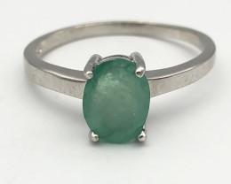 11.10 Crt Natural Emerald 925 Silver Ring