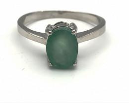 10.09 Crt Natural Emerald 925 Silver Ring