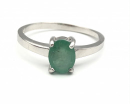 11.11 Crt Natural Emerald 925 Silver Ring