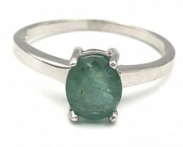 10.98 Crt Natural Emerald 925 Silver Ring