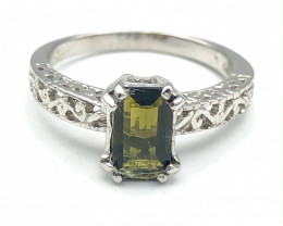 11.51 Crt Natural Tourmaline 925 Silver Ring