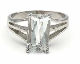 14.98 Crt Natural Aquamarine 925 Silver Ring