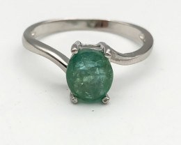 6.54 Crt Natural Emerald 925 Silver Ring