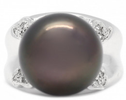 18k South Pacific Black Salt Black Pearl Ring [JR11 ]
