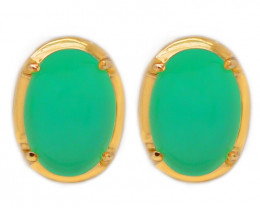 10K Gold Australian Chrysoprase Pierce Earring [JE01]