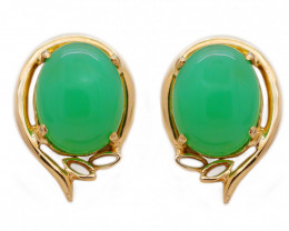 10K Gold Australian Chrysoprase Pierce Earring [JE02]