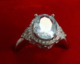 15.50 Cts Unheated & Natural ~ Blue Aquamarine Silver Ring