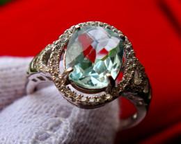 19.40 Cts Unheated & Natural ~ Blue Aquamarine Silver Ring