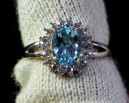 13 Cts Unheated & Natural ~ Blue Aquamarine Silver Ring