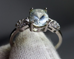 4.70 Cts Unheated & Natural ~ Blue Aquamarine Silver Ring