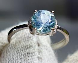 9Cts Unheated & Natural ~ Blue Aquamarine Silver Ring