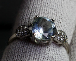 12 Cts Unheated & Natural ~ Blue Aquamarine Silver Ring