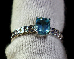 10.20 Cts Unheated & Natural ~ Blue Aquamarine Silver Ring