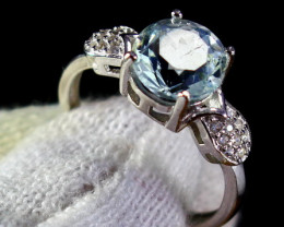 12.10 Cts Unheated & Natural ~ Blue Aquamarine Silver Ring