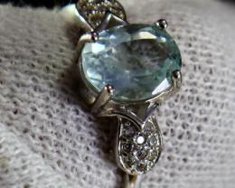 Cts Unheated & Natural ~ Blue Aquamarine Silver Ring