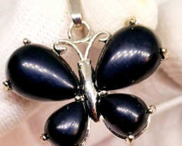 Natural Black Onyx Butterfly Stainless Steel Pendant