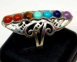 Natural Chakra Stainless Steel Free Size Perfect Ring