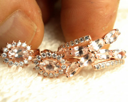 34.17 Tcw. Untreated Morganite Sterling Silver Gold Plated Earrings + Ring