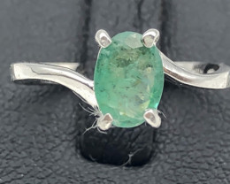 5.62 Crt Natural Emerald 925 Silver Ring