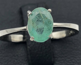 8.17 Crt Natural Emerald 925 Silver Ring