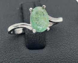6.08 Crt Natural Emerald 925 Silver Ring