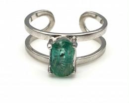 13.38 Crt Natural Emerald 925 Silver Ring