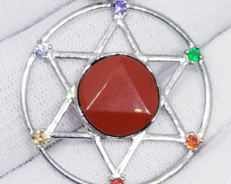 Natural Red Jasper With Multi Colour Cubic Zirconia Stainless Steel Pendant