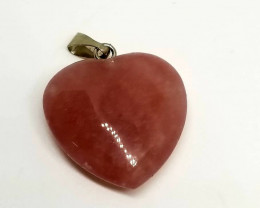 Natural Purple Matrix Heart Shape Pendant With Stainless Steel Bale