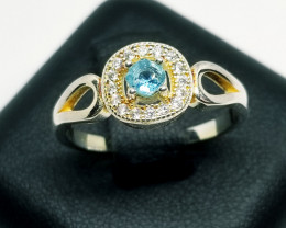 Natural Sky Blue Topaz Silver Ring With Cubic Zirconia