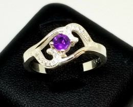 Natural Amethyst Silver Ring With Cubic Zirconia