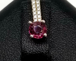Natural Mogol Pink Colour Spinel Silver Pendant With Cubic Zirconia