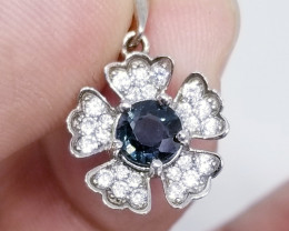 Natural Blue Mogok Spinel Silver Pendant With Cubic Zirconia