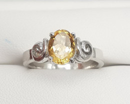 Nice Yellow Color Natural Citrine Gem,s In 925 Silver Ring 17.60 Ct.