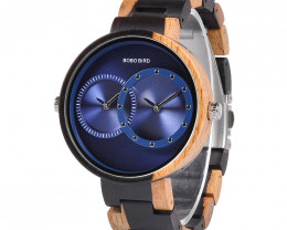 Wooden Watch - Multiple Time Zone - Black & Blue - W011