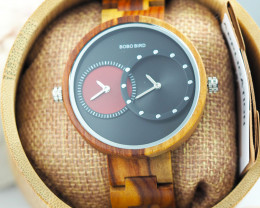 Wooden Watch - Multiple Time Zone - Black & Red - W012