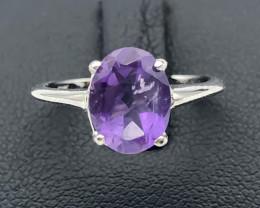 8.37 Crt Natural Amethyst 925 Silver Ring