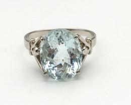 12.91 Crt Natural Aquamarine 925 Silver Ring