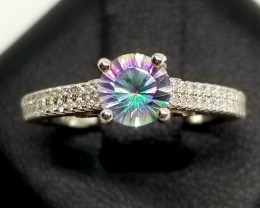 Rainbow Mystic Quartz Silver Ring With Cubic Zirconia
