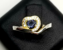 Mogok Blue Spinel Silver Ring With Cubic Zirconia
