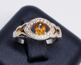 Natural Mogok Yellow Spinel Silver Ring With Cubic Zirconia