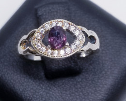Natural Mogok Purple Spinel Silver Ring With Cubic Zirconia
